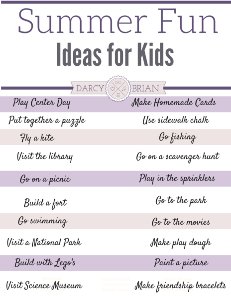 Summer Fun Ideas For Kids With Free Printable List