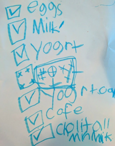 Grocery shopping list written by a child.