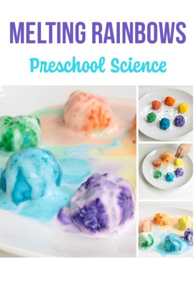 Collage of baking soda preschool science experiment