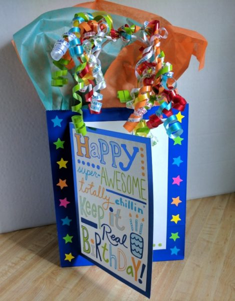 Bright and colorful decorated gift bag #BirthdaysMadeBrighter #CollectiveBias #Shop