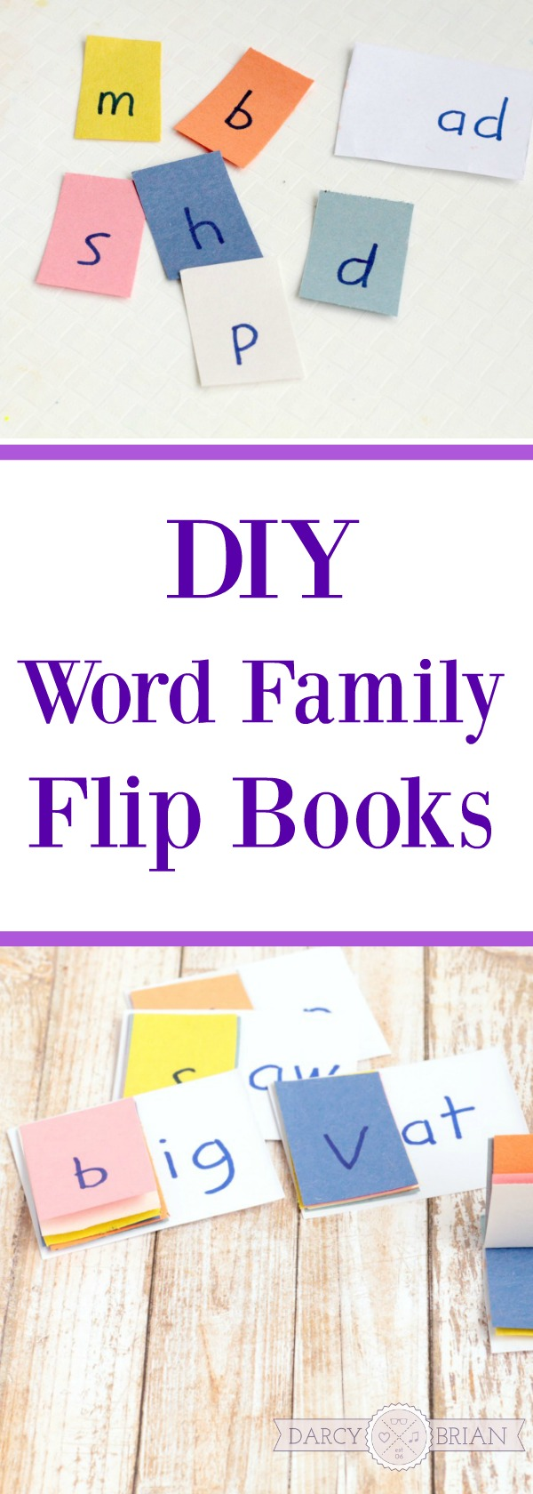 These word family flip books are so easy to make! Looking for fun learning activities to help your kindergartner learn how to read? Make your own DIY sight word family flip book for kindergarten and preschool kids!