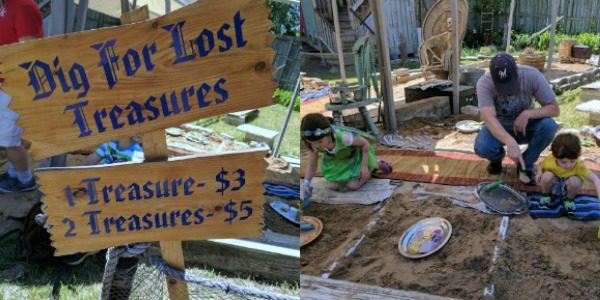Digging for lost treasure kids activity at Bristol Renaissance Faire