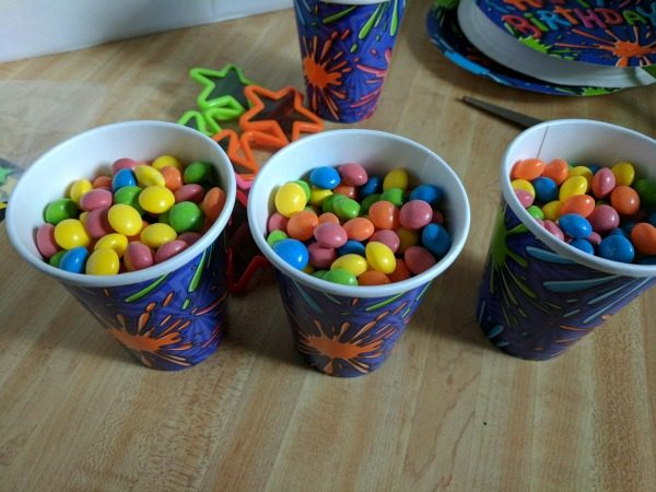 Fill party cups with candy to use as decor and party favors #BirthdaysMadeBrighter #CollectiveBias #Shop
