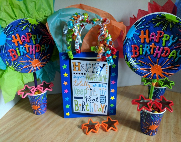 Bright and colorful birthday gift bag and part decor
