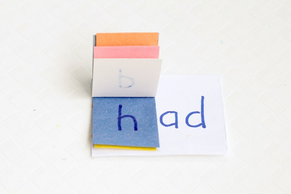 Making word family books. Example shows the word had.