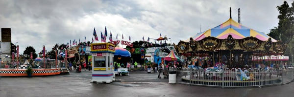 Panorama of the Kidway rides at the MN State Fair
