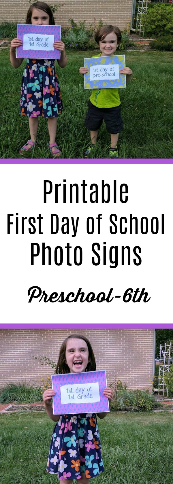 Looking for a simple way to make back to school memorable? Use these First Day of School printable photo signs to capture fun memories of your kids. These free printable signs have grade specific options that you can use year to year. Get preschool through sixth grade plus first day of middle school, high school, and college.