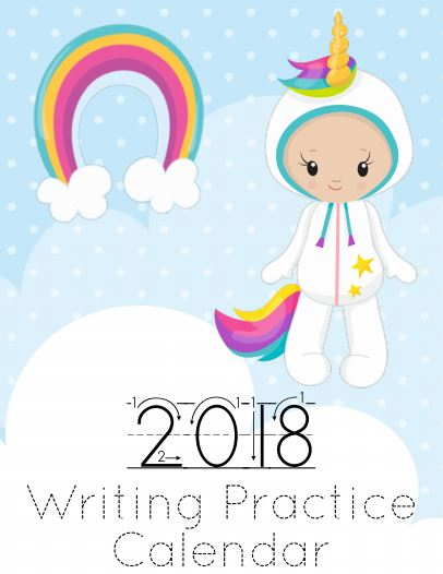 Fun unicorn themed writing practice printable sheets