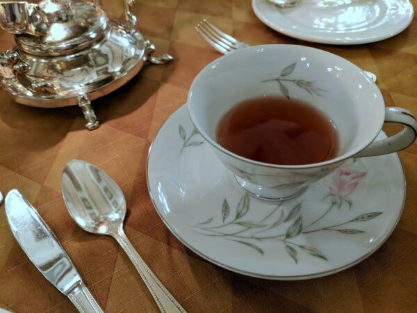 A cup of tea during tea service at the Pfister Hotel