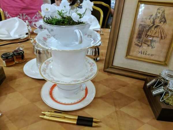 Tea cup tower on the Alice table at the Mad Hatter Tea Party Event