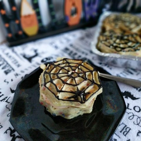 Easy no bake Halloween Ice Box Cake Recipe with Eggo Waffles