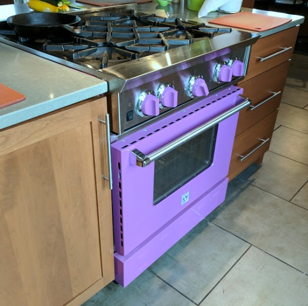 Purple stove in That Cooking School kitchen studio
