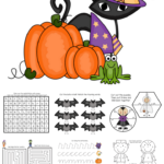 Looking for fun Halloween learning activities for kids? Check out this free printable packet of spooky fun coloring, cutting, counting, mazes, and more! Perfect for preschool through first grade.