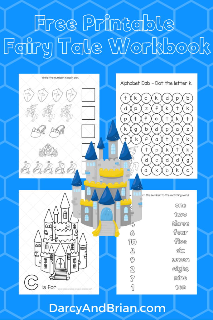 Printable workbook with fairy tale theme
