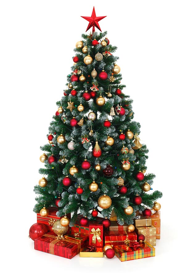 Artificial Christmas tree decorated with red and gold ornaments and presents underneath.