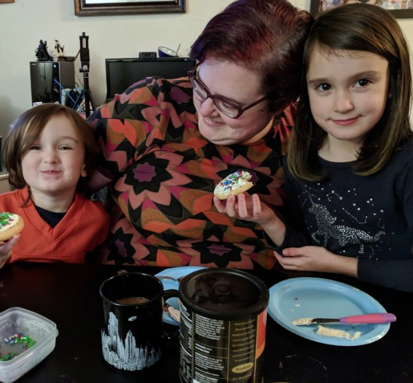 Darcy spending time with her kids during cookies and cocoa time.