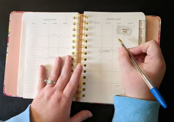 Using planner for meal planning and keeping track of activities.