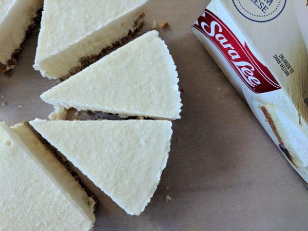 Making frozen cheesecake mini desserts.