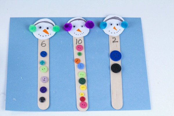 Snowman counting and number recognition activity tutorial