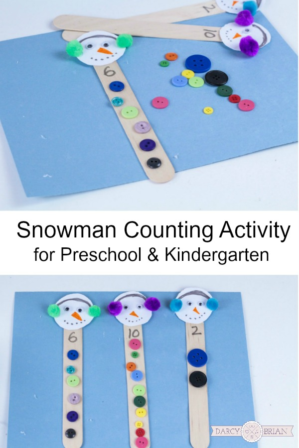 Looking for a quick winter counting activity for kids? This adorable snowman button counting activity is perfect for children in preschool and kindergarten! You can easily set up this math activity at home or at school for math centers. The kids will have fun while working on number recognition, counting 1-10, and fine motor skills.