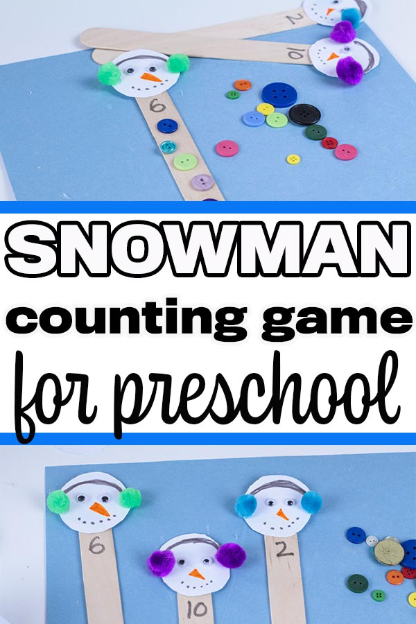 Popsicle sticks decorated with snowman heads laying on blue paper next to assorted buttons.