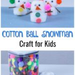 Image collage of craft supplies and completed snowmen made out of cotton balls.