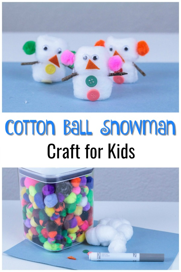 Looking for fun and easy winter crafts for kids? This easy Cotton Ball Snowman craft activity for kids is perfect for an afternoon indoors. This would also make a wonderful project for a classroom art center (at school or for homeschool). Click to get the directions on how to make these cute cotton ball snowmen! #wintercrafts #snowman #crafts #kids #winter #kidcrafts