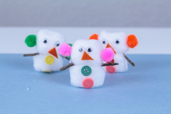 Cotton ball snowman kids craft activity