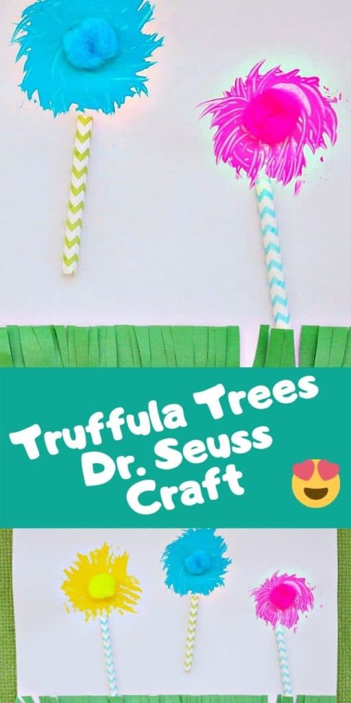 Collage of two completed truffula tree fork paintings with text overlay.