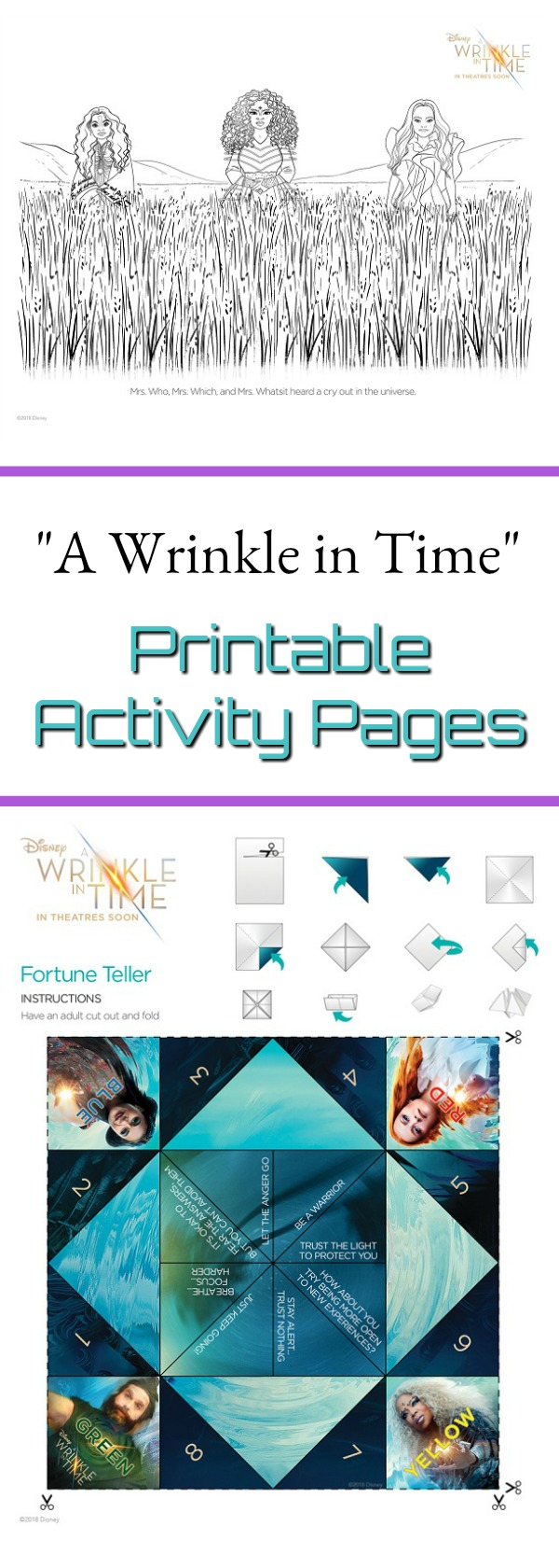 "Are you excited to see ""A Wrinkle in Time"" the movie? Grab these FREE A Wrinkle in Time printable coloring and activity pages featuring the main characters!"
