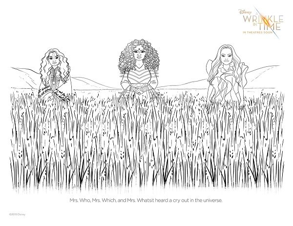 A Wrinkle in Time coloring page with Mrs Which, Mrs Who and Mrs Whatsit