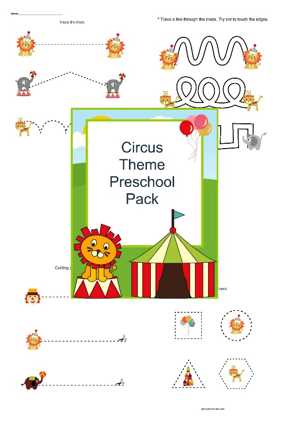 Circus theme printable pack with tracing, cutting, and coloring. It's perfect for preschoolers!