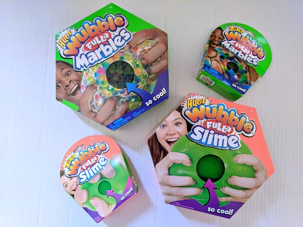 Wubble Fulla Marbles and Wubbla Fulla Slime balls in their packaging.