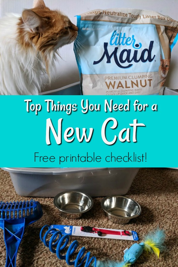 AD: Great ideas for a new cat welcome kit! Are you planning on getting a new cat or know someone who is? Getting a new pet is exciting and it's important to be prepared. Check out what you need for a new cat welcome kit. It makes a great gift not only for your new kitty, but for a friend or even as a donation to your local animal shelter. Free printable checklist and weekly cat care tracker. #LitterMaidWalnut #LitterMaid #Cats @littermaidoffical @walmart