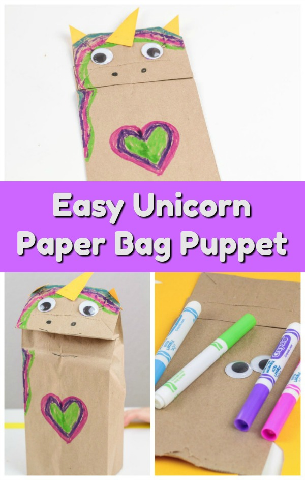 Looking for paper bag craft ideas to make with your kids? Have a magical afternoon with this fun and easy Unicorn Paper Bag Craft. It's perfect for preschoolers but all ages can create their own paper bag puppet. Makes a great art center activity plus kids can use it for pretend play too!