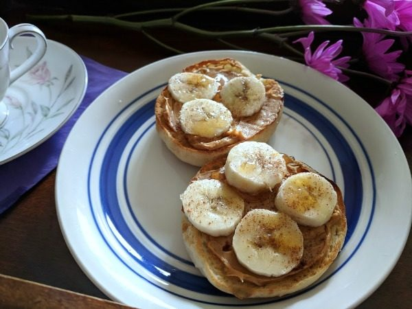Simple peanut butter banana with cinnamon and honey English muffin