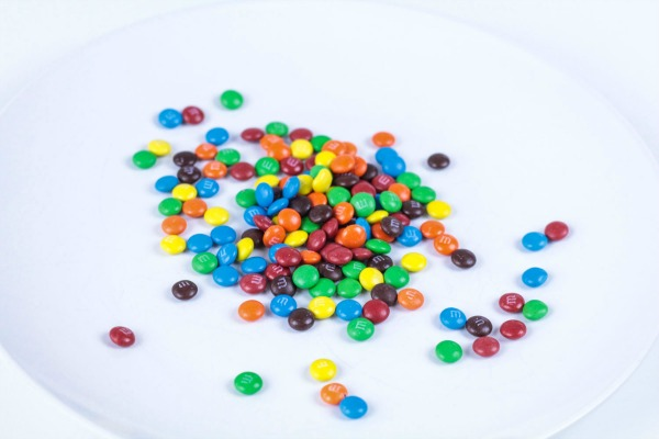 Gather your supplies for the candy rainbow activity