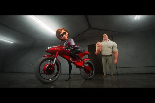 ElastiGirl riding motorcycle off to work in Incredibles 2