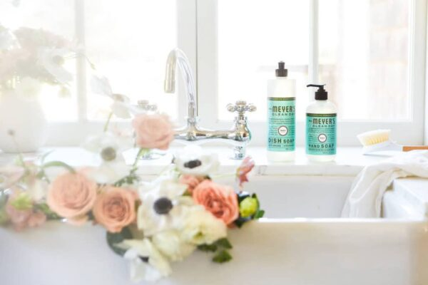Mrs Meyer products by sink