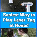 AD: Looking for fun outdoor games the kids can play? Check out the easiest way to play laser tag at home! Using these laser blaster toys make it fun to play laser tag in the backyard. Great idea for a boys birthday party!