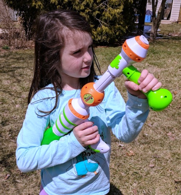 My daughter ready to shoot slime at the target.