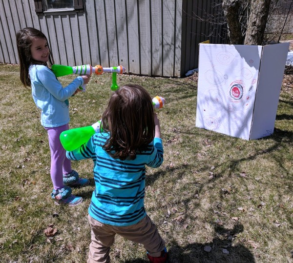Slime Blaster shootout in the backyard.