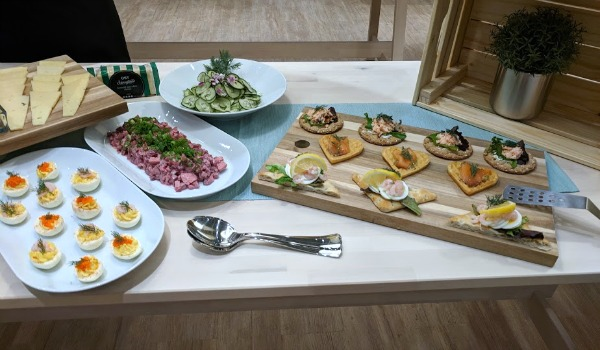 Swedish breakfast smorgasbord featuring food from the IKEA cafe and food market.