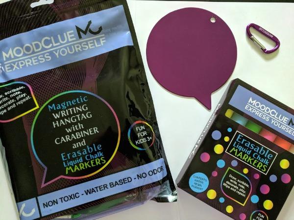 MoodClue liquid chalk marker set and backpack accessory.