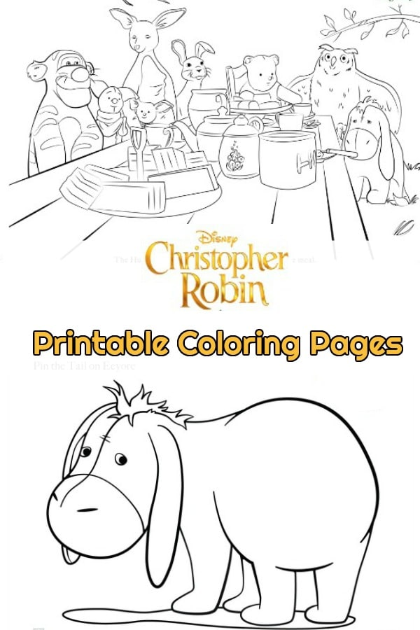 Do you love Winnie the Pooh? Are you excited for Disney's new Christopher Robin movie? Grab these free printable coloring pages of Winnie the Pooh, Tigger, Eeyore, Piglet, and more! #ChristopherRobin #Disney #coloring #coloringpages #kids #printables