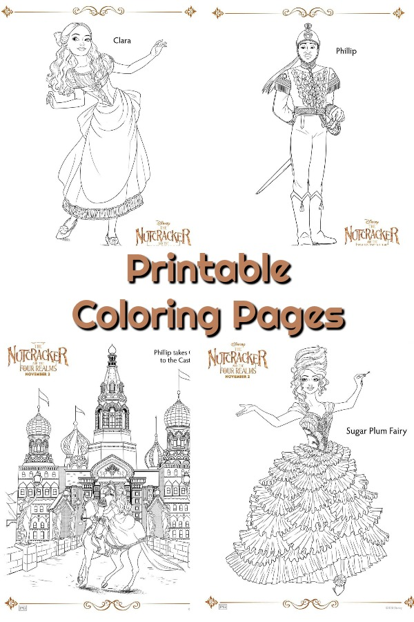 Grab these free printable coloring pages and activity sheets for Disney's The Nutcracker and The Four Realms. #nutcracker #disney #coloringpages #coloring #printables
