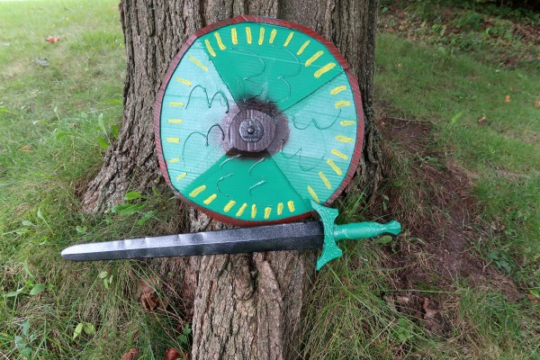 Completed sword and cardboard shield