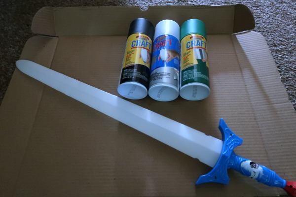 Toy sword makeover supplies