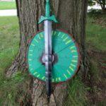 Completed sword and shield project with Plasti Dip