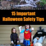 Be prepared for Halloween with these safety tips for homeowners. These tips will prepare your home for visiting trick-or-treaters plus tips to keep your kid's Halloween costume safe. #ad #Halloweensafety